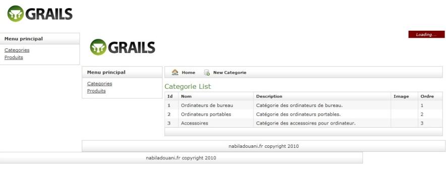 Page liste des catégorie avec erreur d'affichage