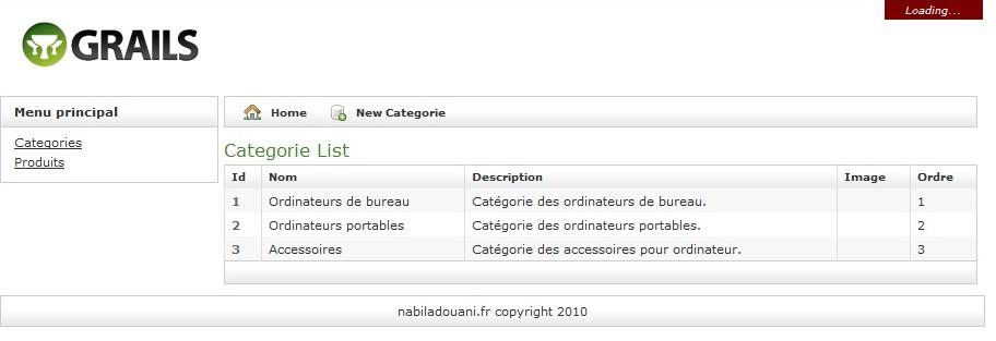 Page liste de catégories appelée en Ajax